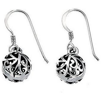 Början filigran Ball Drop örhängen - Silver/svart