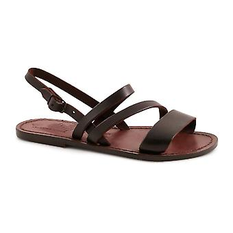 Women's brown leather flat sandals handmade