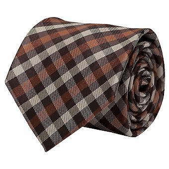 Fabio Farini beige checkered tie, necktie, ties, tie, 8 cm, Brown,