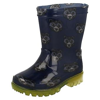 Infant Boys Clarks Wellington Boots with Lights Shiny Roar