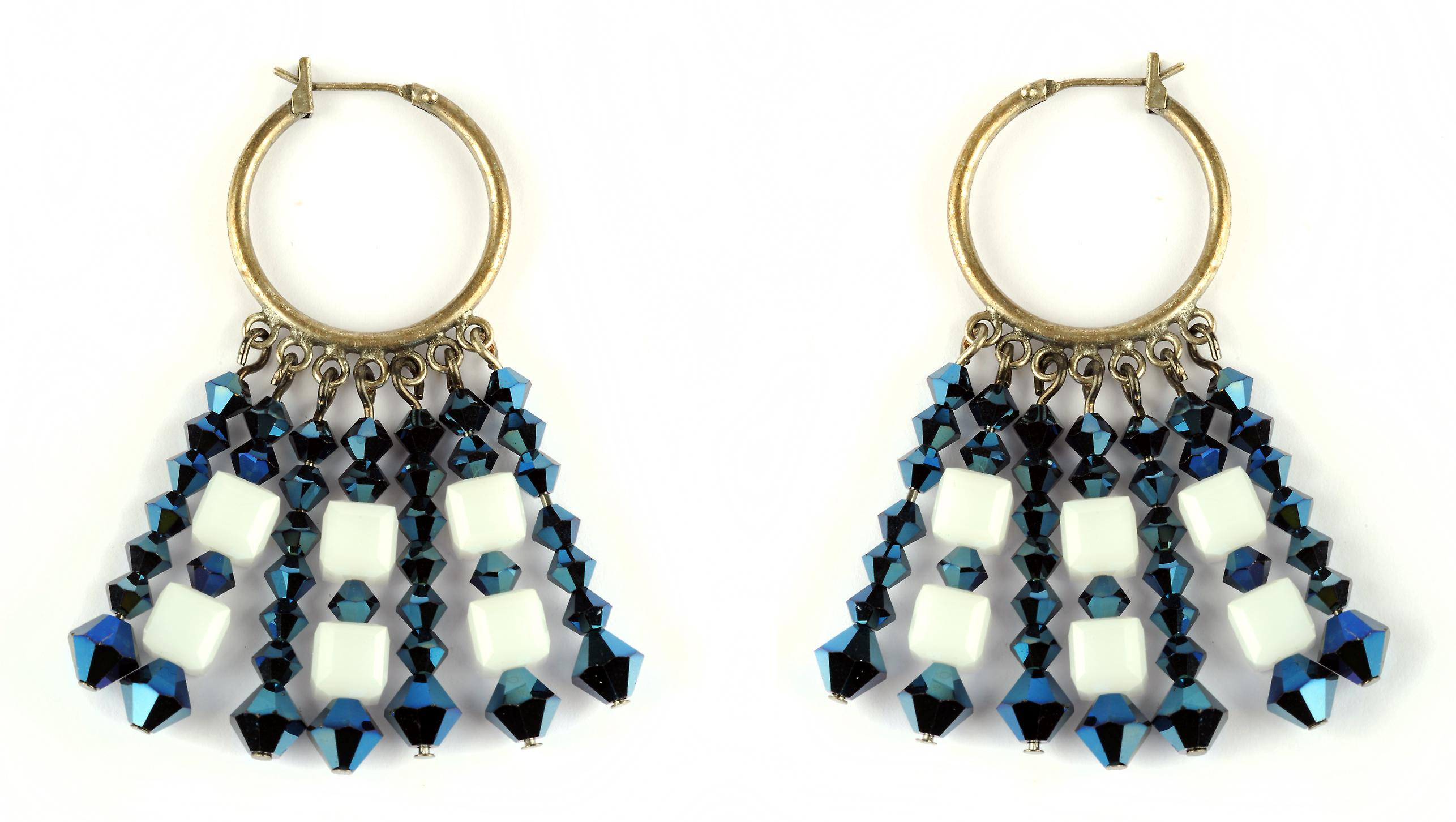 Waooh - jewelry - WJ0852 - earrings with Rhinestone Swarovski blue & beads square white - mount silver