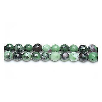 Tråd 40 + grønn/svart Ruby i Zoisite 8mm fasetterte runde perler GS19444-3