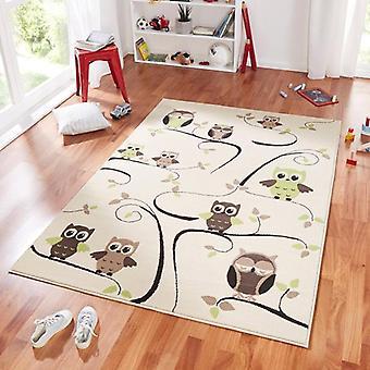 Ontwerp suède spelen mat voor kinderen OWL beige groen 140 x 200 cm