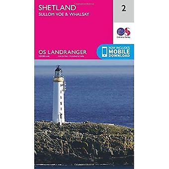 Landranger (2) Shetland Sullom Voe & Whalsay (OS Landranger kaart)