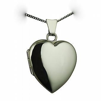 9ct White Gold 21x19mm plain heart shaped Locket with a curb Chain 20 inches
