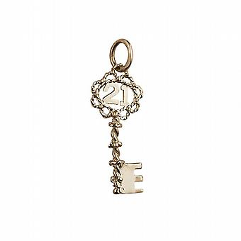 9ct Yellow Gold Solid Charm 21 Key