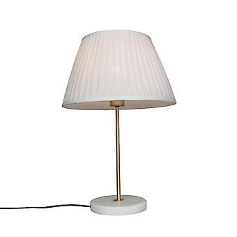 Tabla QAZQA Kaso lámpara latón con pantalla Plisse 35cm Blanca