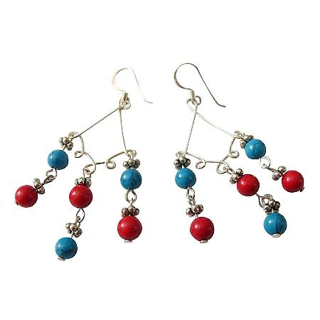 Turquoise & Red Coral Bead Earrings Sterling Silver Dangling