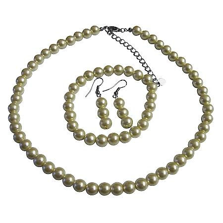 Wedding Pearl Jewelry Set Ivory Pearl Complete Set With Bracelet Prom Bridal BridesmaidWedding $10 Dainty Jewelry Set