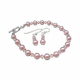 Rose Pink Pearl & Pink Crystal Bridemaides Bracelet & Earrings Genuine Swarovski Pearls crystals