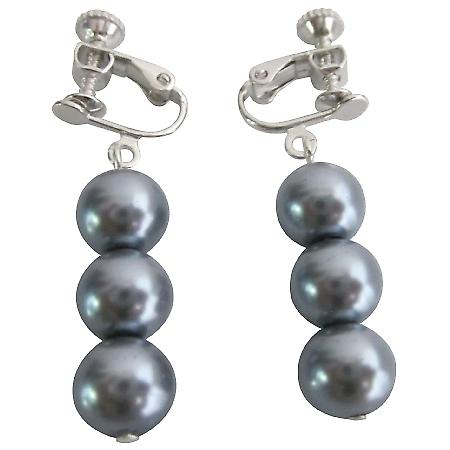 Clip On Earrings Bridal Jewelry Bridesmaid In Gray Pearls