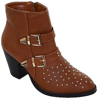 Ladies Studded Front Low Heel Black Tan Women's Ankle Boots Heels Shoes