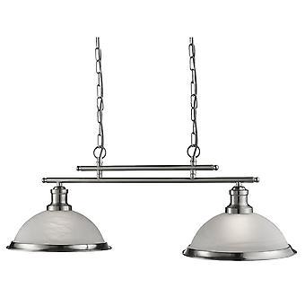 Bistrô cetim prata dois luz pendente na barra com vidro ácido - holofote 2682-2SS