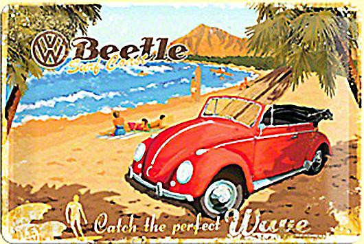 VW Beetle Catch The Perfect Wave embossed metal sign    (na 3020)