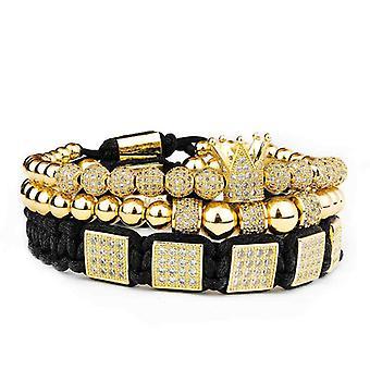 3 each bracelet-White rhinestones and gold beads