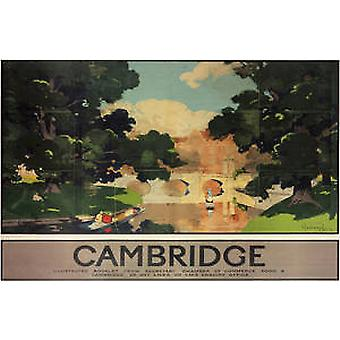 Cambridge Bridge (vieille annonce de rail.) Monté impression