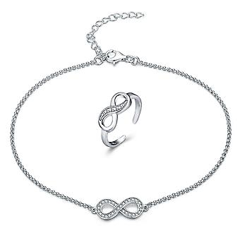 925 Sterling Silver Pave Infinity Anklet With Toe Ring Set