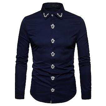 Allthemen mäns långärmad skjorta tryckt bomull skjorta 4 färger