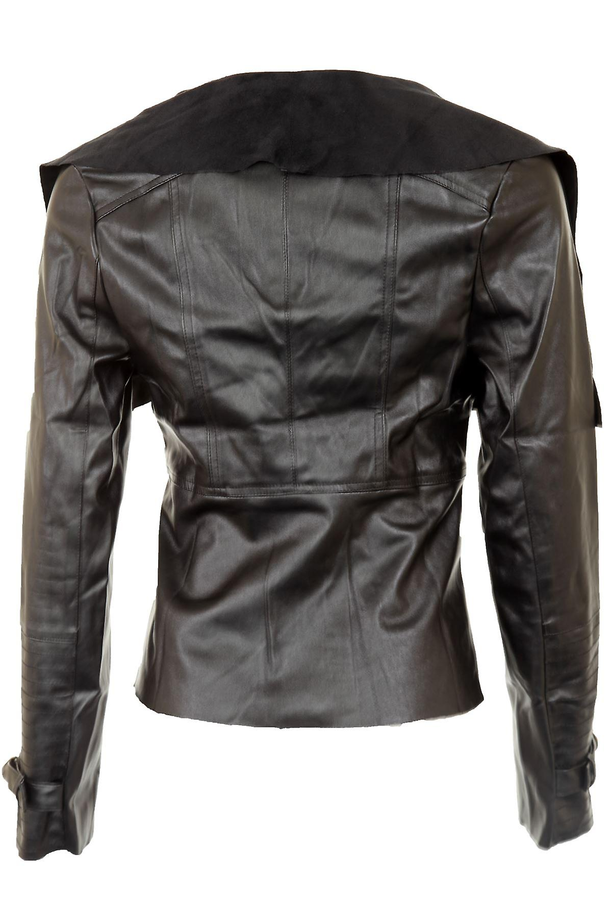 Ladies Faux Leather PVC Zip Shoulder Collar Lined Buckled Cuff Womens Jacket