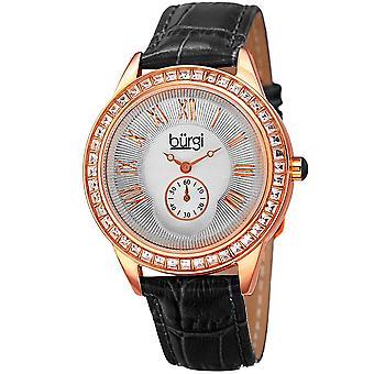 Burgi Women's Quartz Guilloche Solei Dial Geniune Black Leather Strap Watch BUR144BK
