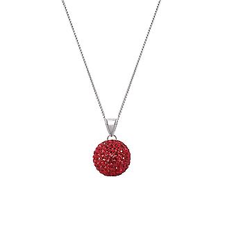 Eternal Collection Shamballa Red Glitter Ball Silver Tone Pendant Necklace