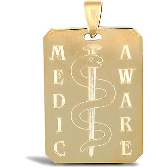 Jewelco London Solid 9ct Yellow Gold Medical Awareness Dog Tag Ciondolo