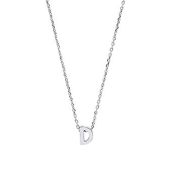 Jewelco London Ladies Rhodium Plated Sterling Silver Letter D Initial Pendant Necklace