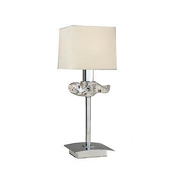 Mantra Akira Table Lamp 1 Light E14, Polished Chrome With Cream Shade