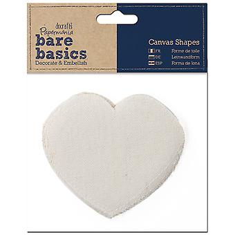 Papermania Bare Basics Canvas Shapes 6 Pkg Heart Pma174403