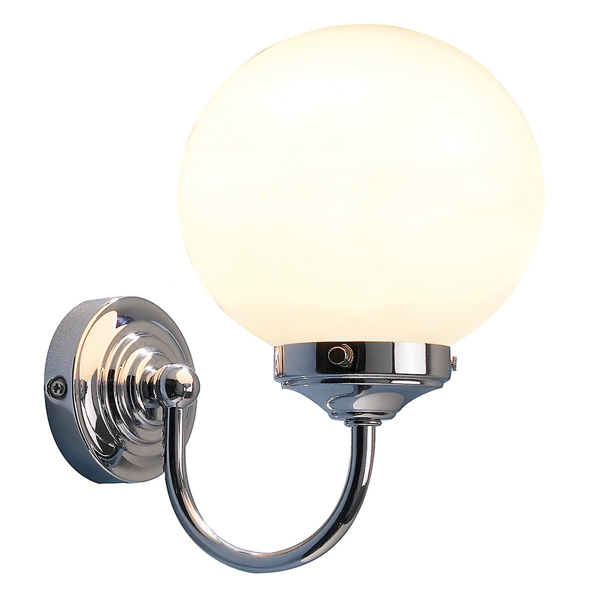 Dar BAR0750 Barclay Switched Bathroom Wall Light With Opal Glass Ball