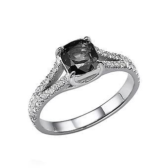 14K wit goud 1.20 CTW Black Diamond Ring met diamanten Split Shank kussen met accenten