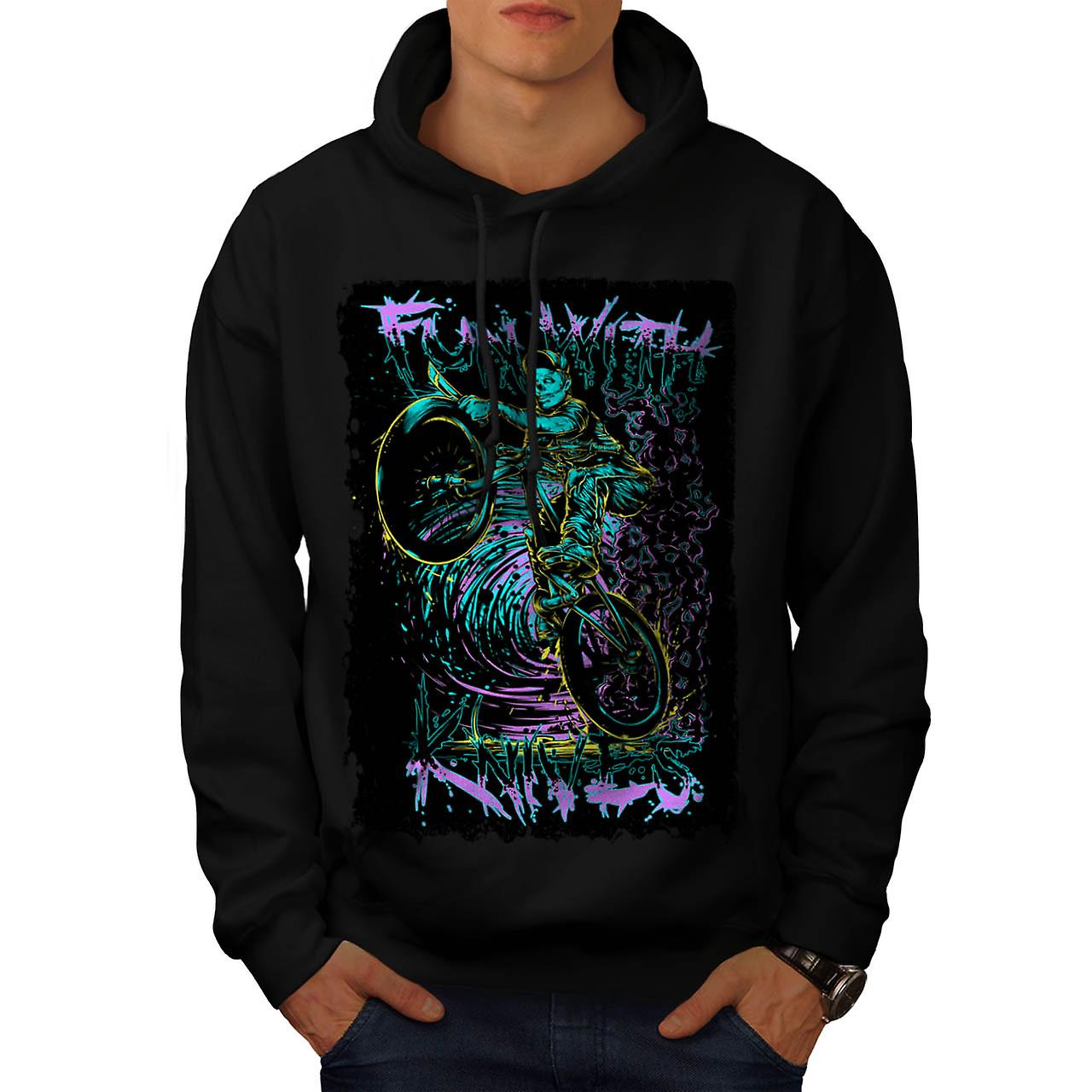 Fun With Knives Rider Zombie Bike Men Black Hoodie | Wellcoda
