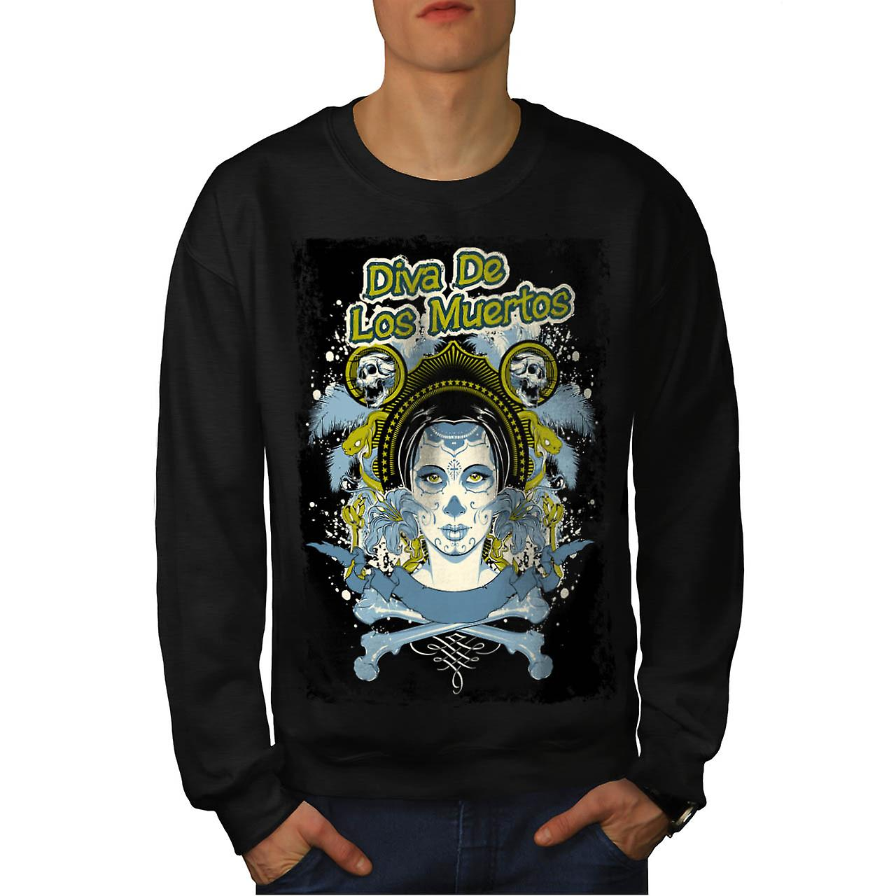 Diva Of The Dead Face Los Muerto Men Black Sweatshirt | Wellcoda