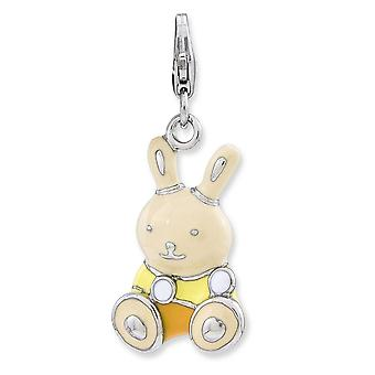 Sterling Silver Rhodium-plated Fancy Lobster Closure Enameled 3-d Bunny With Lobster Clasp Charm