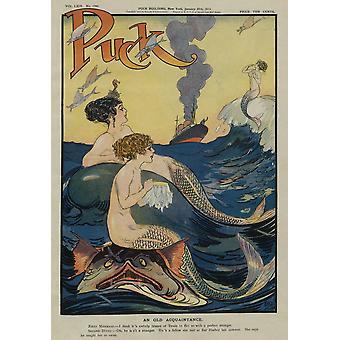 Meerjungfrauen In dem Meer Puck Magazin Jahrgang Klatsch decken Poster drucken