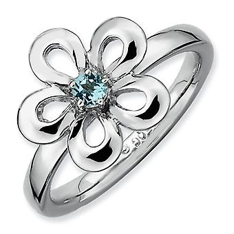 Sterling Silver Prong set Rhodium-plated Stackable Expressions Polished Blue Topaz Flower Ring - Ring Size: 5 to 10