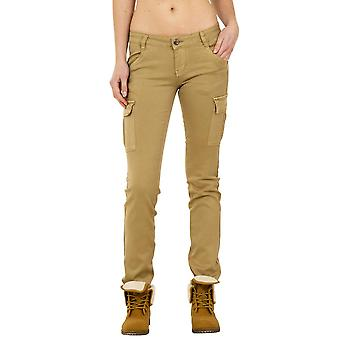 Slim Low Rise Cargo Trousers - Light Brown