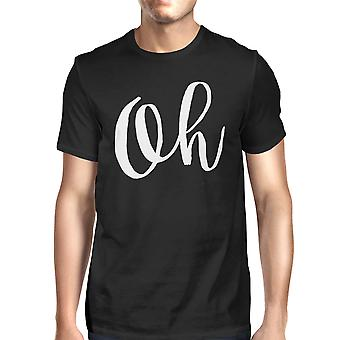 Oh Men's Black Shirts Funny Short Sleeve Typographic T-shirt