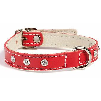 Doggy Things Fantasia Leather Dog Collar Red 35cm