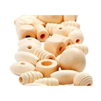 200g Mixed Shape Wooden Beads For Crafts | Wooden Craft Beads