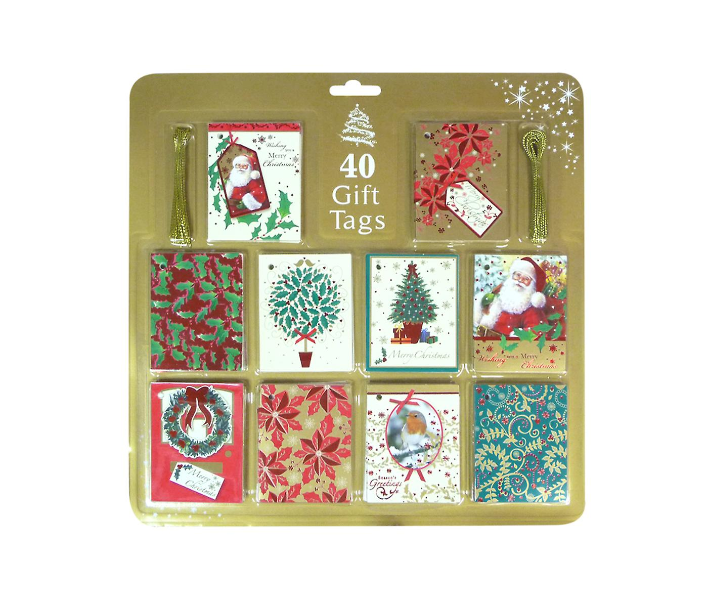 40 Christmas Gift Tags in Assorted Gold and Red Seasonal Designs