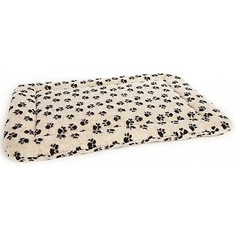 Rectangle Cushion Pad Fleece Paw Print Beige Size 3 85x61x5cm