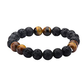 Men's stainless steel bracelet with lava stones and Tiger eyes