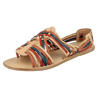 Ladies Leather Cross Over Strap Slingback Sandals