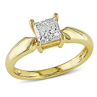 Solitaire Princess Cut Diamond Ring 1.0 Carat (ctw) in 14K Yellow Gold