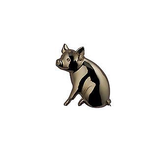 9ct Złota 24x25mm świnia Broszka
