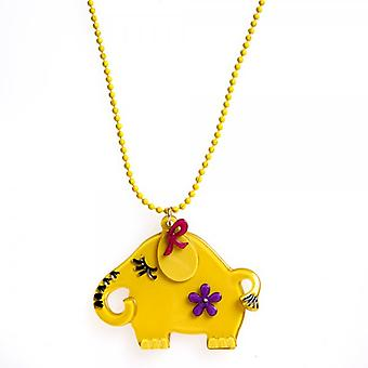 Camille Yellow Elephant Design Necklace