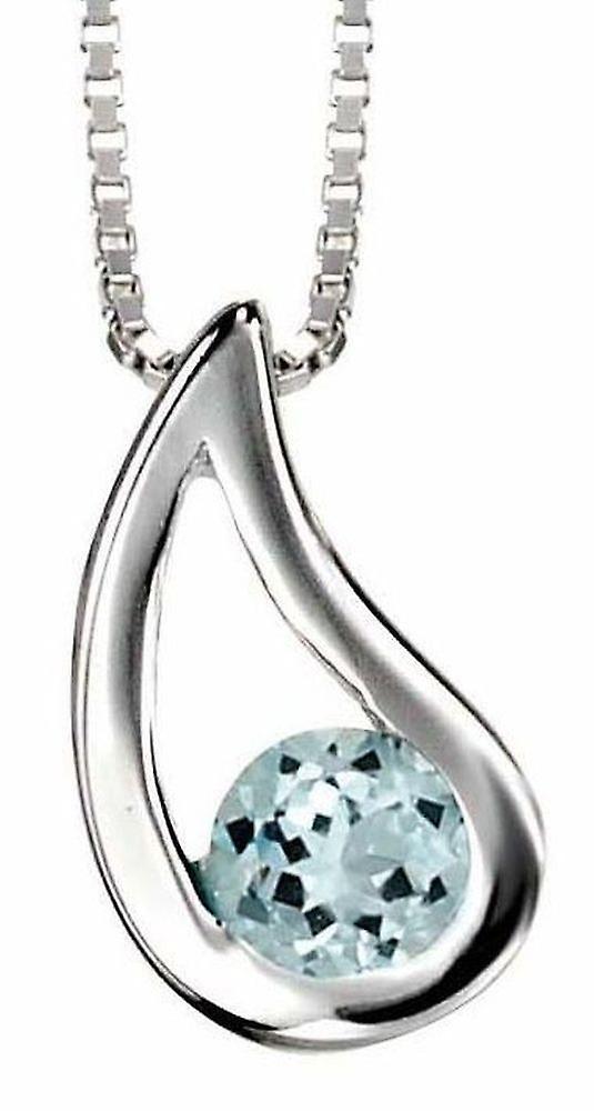925 Silver Necklace Blue Topaz Pendant Necklace