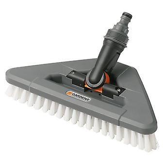Gardena DurasPara triangular bristle brush thoroughly cleaning hard surface, is connected to