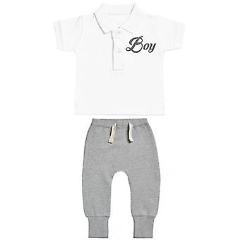 Spoilt Rotten Boy Design Baby Polo T-Shirt & Baby Joggers Outfit Set